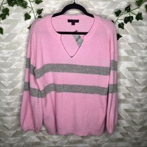 Ann Taylor lavender balloon sleeve stripe sweater